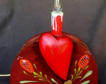 MY HEART NIGHTLIGHT, A Hand Decorated Nightlight With Three Dimensional Wooden Heart And Lightbulb