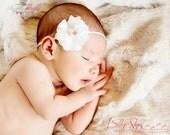 Newborn Baby Petite Headband. Photo Prop Ivory or White with Rhinestones & Pearls Preemie Baptism Wedding