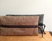 Brown Linen Pencil Case, Zipper Pouch, School Pencil Pouch