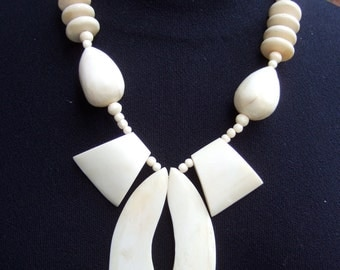1970s Tribal Bone & Wood Beaded Statement Necklace