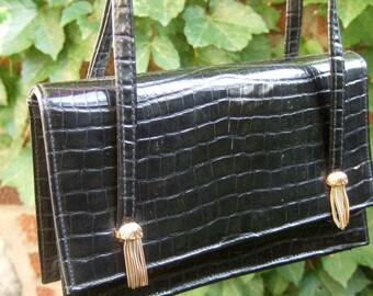 Stylish Black Patent Embossed Vinyl Diminutive Handbag c 1970