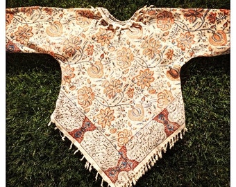 CHIC Floral Vintage 70s Hand Blocked IRANIAN FRINGE Top Hippie Boho Festival Yama Girl