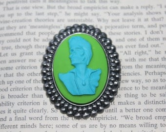 Aqua On Lime Green Elvis Skull Silhouette Cameo Brooch