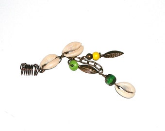 Dreadlock Jewelry - Cowrie and Brass Leaf Charms Loc Jewel