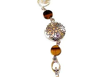 Dreadlock Jewelry - Antique Silver Goddess and Tiger Eye Loc Jewel