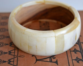 Vintage Bangle, Bone & Wood Bracelet Chunky Wide White Jewelry Cuff Thick Made in India Women Chic Gift Unique Classic Goes with Everything!