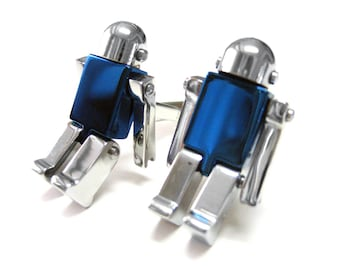 Blue Chrome Robot Cufflinks