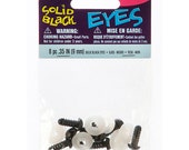 Solid Eyes with Plastic Washers - Black - 9mm - 8 pieces