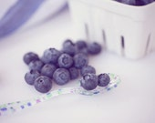 Food Photography - Kitchen Art - Berries - Blueberries - Fruit - Dining Room Decor - Fine Art Photography Print - Blue White Home Decor