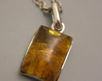 Sterling Silver and Amber Pendent