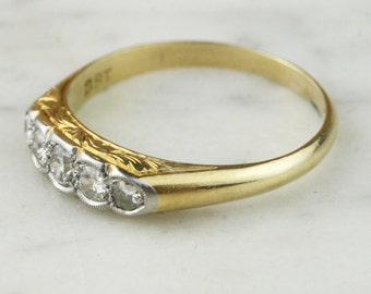 Art Deco 18k Gold 5 Stone Diamond Engagement Ring / feather engraved