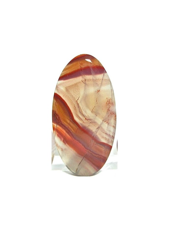 Banded Gem Agate Stone Oval Pendant Cabochon