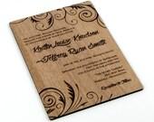 "Solid Wood Wedding Invitation Sample - ""Embellished Vines"" Design Engraved on a Variety of Wood Species"