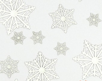 """Laser-Cut Holiday Snowflake Cutouts - """"Snow Crystals"""" - Heavyweight Colored Paper - Great for Christmas Confetti"""