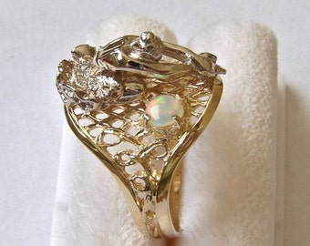 18K Gold over Sterling Silver Ballerina Diamond and Opal Ring