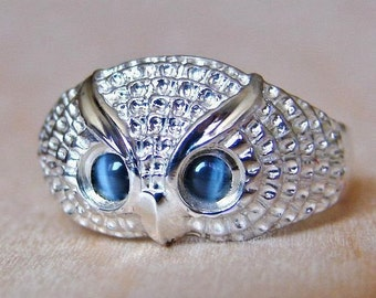 925 Sterling Silver Hawk's Eye OWL Ring