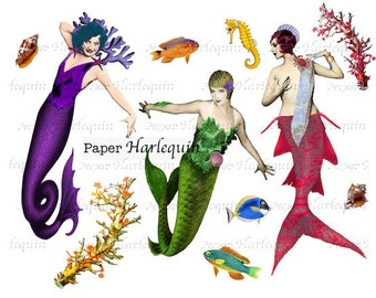 Mermaid Vintage-Style Glamour Printable Digital Collage Sheet DIY ALTERED Art, ATC, Scrapbook, Decoupage