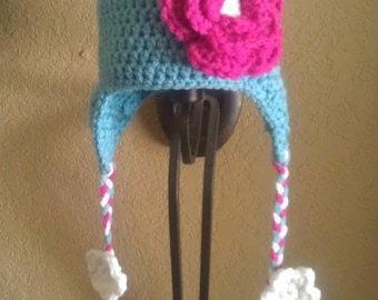 Teal Flowery Crochet Earflap Hat 12-24m, 2-4y, 4-8y