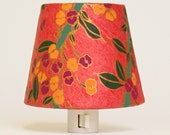 Orange Lamp Shade Night Lights - Yellow and Purple Retro Modern Art Deco Flowers - Master Bedroom Decor - Decorative Lighting - Nightlight - TheOrangeChairStudio