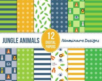 Jungle Animals Digital Paper: Safari Digital Scrapbooking Paper, Boy Digital Paper Pack - Instant Download, Commercial Use, 12x12 + 8.5x11