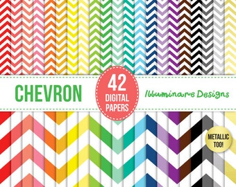 50% OFF - Chevron Digital Paper: Digital Scrapbooking Paper Pack in Chevron (Zig Zag), Chevron Pack including Metallic - Commercial Use