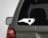 North Carolina with Heart Home State Vinyl Decal