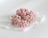 50 pcs - Set of Peachy Pink paper rose / mulberry paper roses