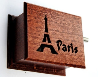 Travel gifts gift for travelers Paris souvenir music box French Eiffel Tower Amelie France  wooden handmade art
