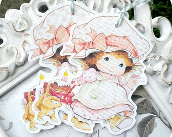 Little Vintage Birthday Girl Tags - Set of 6