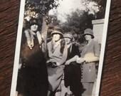 Original Antique Photograph Ladies Dressed In Fashionable Coats Hats & Fox Furs