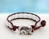Snow-White... Leather wrap bracelet... Original OceanBead Style.