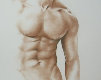 Male Nude Art, Order Male Nude, Handmade Nude, Erotic Drawing, Classical Nude Art, 12 x 16, Male Torso Sketch, Sepia Drawing, Made to Order