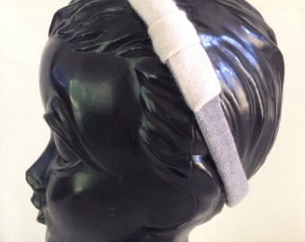 50% OFF CLEARANCE-Recycled Cashmere Headband: Grey with a White Bow