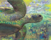 "Original Fine Art Watercolor Giant Sea Turtle Painting ""The Color Of Magic"""