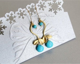December Birthstone Earrings, Turquoise Micro Cut Heart Briolettes, Gold Twig Connector, Gold-filled Wire and Earwire. Nature Inspired. E160