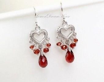 January Birthstone Earrings, Garnet Tear Drop Briolettes, Silver Heart Chandeliers, Sterling Silver Earwires. Love. Valentines. Gift. E165.
