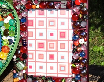 Frame, Boho Chic Decor, Mosaic Beaded Frame, 9 x 7 Frame, Artsy Picture Frame, Skeleton Key, Bohemian Decor, Eclectic Funky Red Blue Green