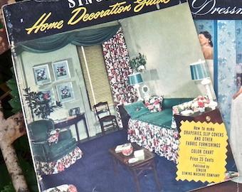 Ephemera, Book, Vintage Magazine, Singer Home Decoration Guide, Sewing Gift, Seamstress 1940s How to Magazine, Decorating, Retro Literature