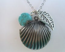 Small Antique Silver Shell locket with filigree leaf and turquoise drop/ Victorian/ Birthday gift/ Present / Under 50 dollars/ everyday neck
