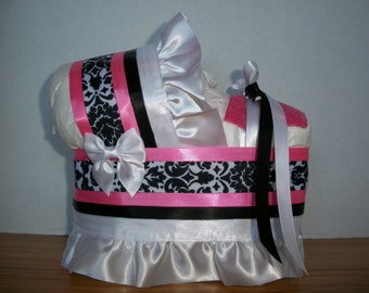 Black white hot pink damask girl diaper bassinet baby shower gift table decoration centerpiece