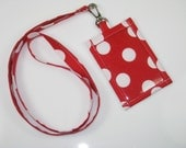 Colorful Polk a Dot Clip On  ID Holder with Hidden Cash Stash with Optional  Matching Lanyard