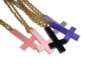 Inverted Cross Necklace, Choose Black, Purple or Pink Laser Cut Pendant, Kawaii Pastel Goth