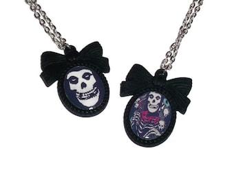 Misfits Necklace, Black Cameo Necklace, Horror Punk Band