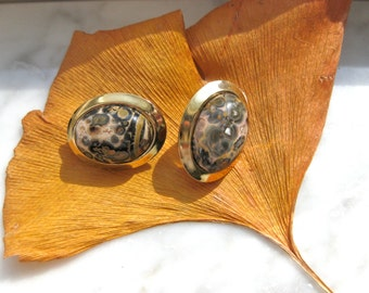 Stone Clip Earrings Semi Precious On New Old Stock Vintage Jewellery Fashion Gift for Woman