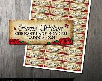 Tattoo Rose Wedding Mailing Address Label | Avery Labels | Rustic Address Labels| DIY Address Label | Digital Printable