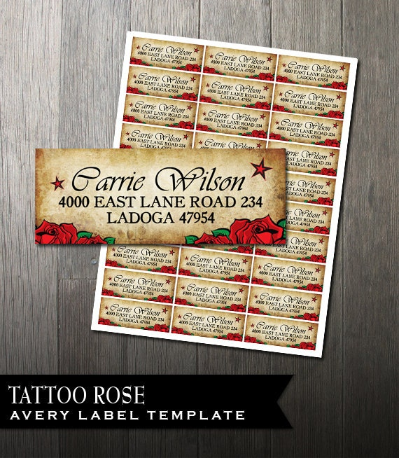 tattoo rose address labels diy avery labels for printing