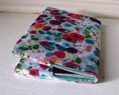 Floral tulip print fabric passport cover/holder for two passports with turquoise lining