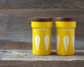 Rare Cathrineholm Yellow Spice Tins/Cans Set of 2- Mid Century