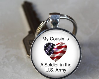 My Cousin is a Soldier in the U.S. Army Patriotic Photo Keychain  (GDKC0279)
