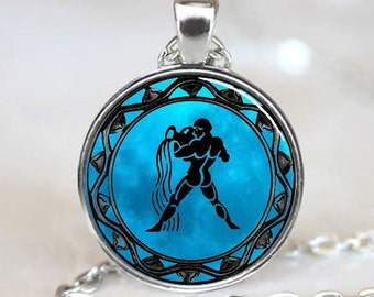 Aquarius Zodiac Astrology Horoscope  Jewelry Necklace Pendant (PD0327)